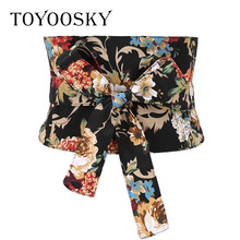 New Arrival Women Belts Bowknot Ethnic Floral Print Canvas Fashion Lace for Dress High Quality Female TOYOOSKY
