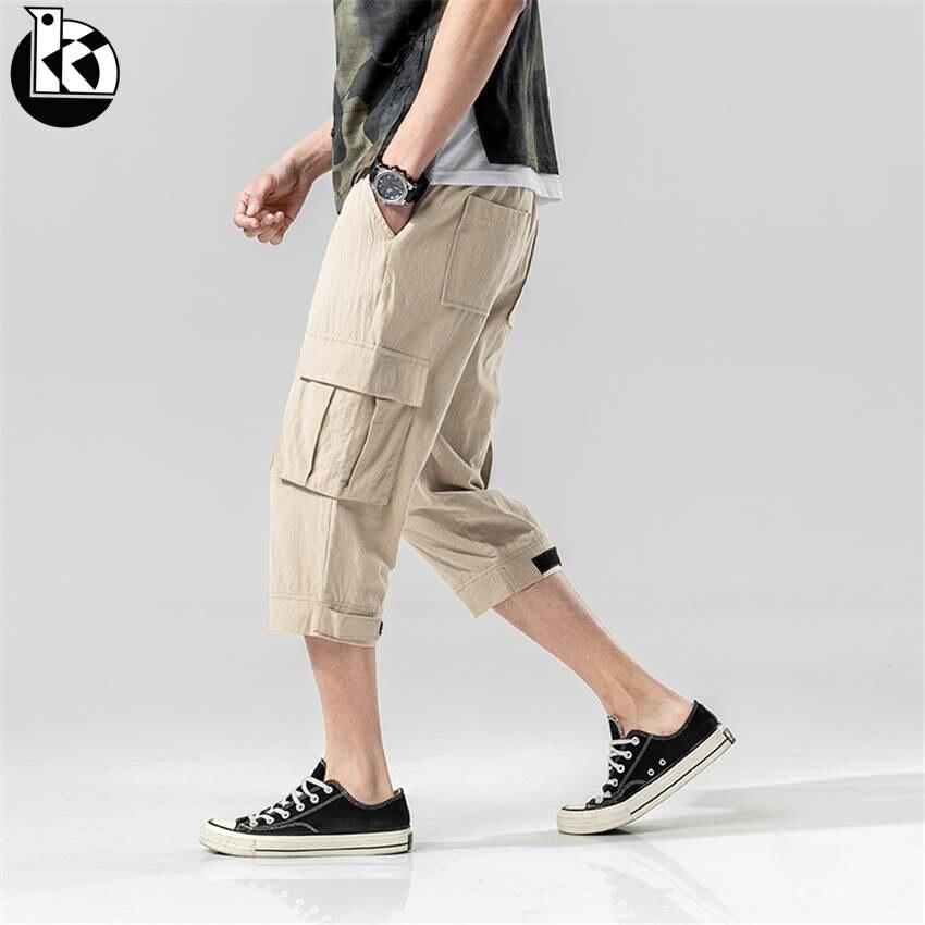 2019 Sommer Neue Große Größe Niedrigen Taille Krawatte Sieben Punkte Hosen Männer Mode Lässig Trend Tasche Dekoration Einfarbig Herren Hosen Perfekte Verarbeitung
