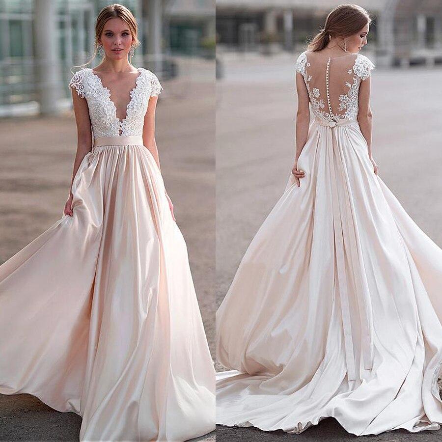 Gorgeous Deep V-Neckline A-line Wedding Dress With Lace Appliques 3D Flowers Applique Beadings Bridal Gowns Vestido De Casamento