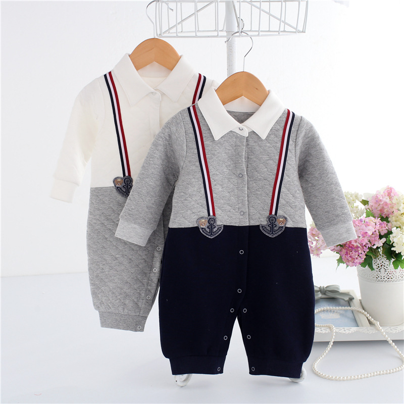 Handsome Baby Rompers Infant Newborn 0-12M Romper Costume Cotton Brand Jumpsuit Clothes Gentleman Body Suit Baby Boys Clothing cotton i must go print newborn infant baby boys clothes summer short sleeve rompers jumpsuit baby romper clothing outfits set