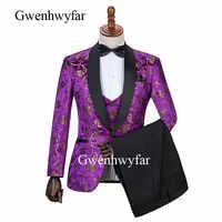Gwenhwyfar 2019 New Men's Costume Groomsmen Purple Slim Fit 3 Pieces Tuxedo Groom Wedding Suits Custom Prom Man Suit Blazer Sets