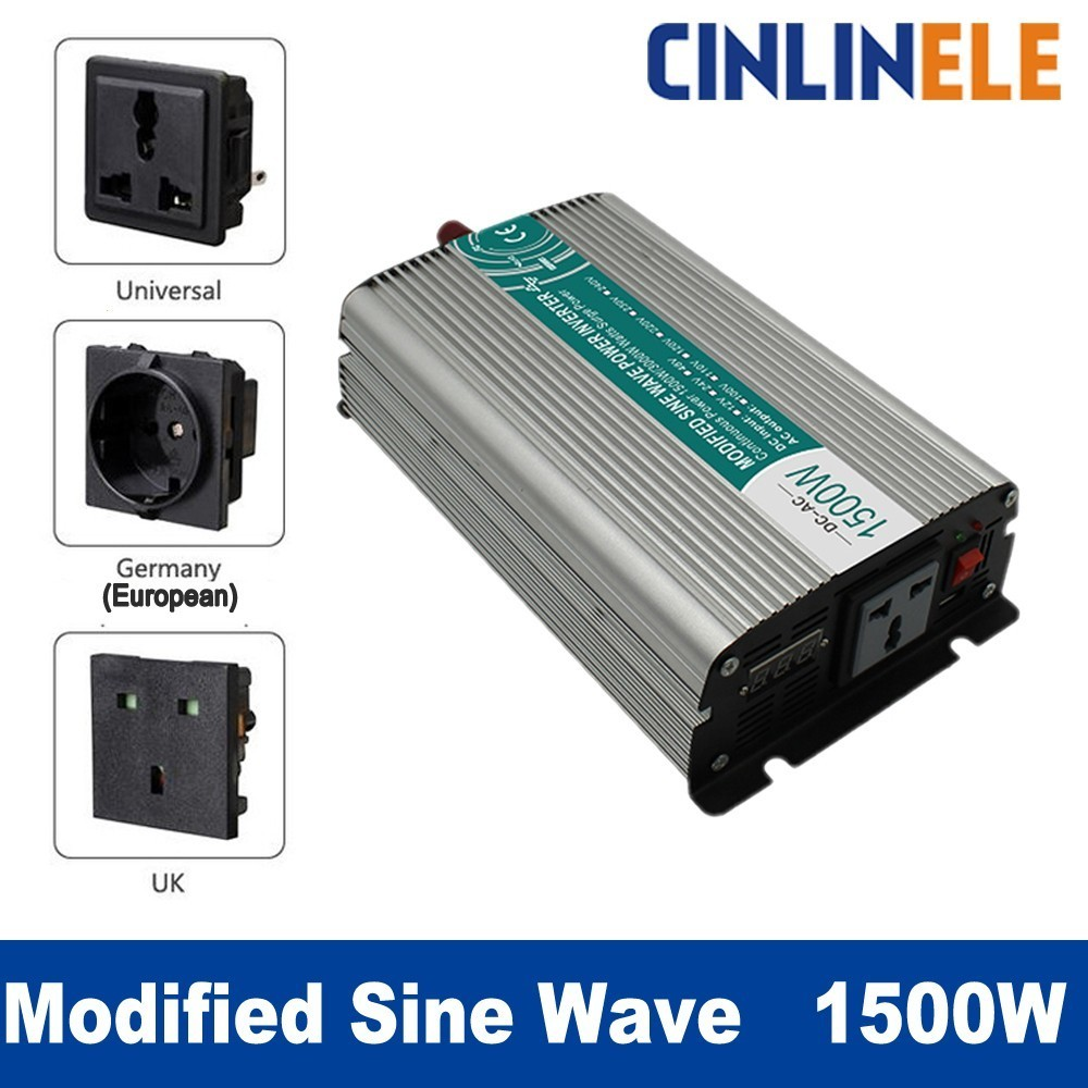 Smart Modified Sine Wave Inverter 1500W CLP1500A DC 12V 24V to AC 110V 220V Smart Series Solar Power 1500W Surge Power 3000W new 50 4ly03 001 lvds video cable for ibm lenovo thinkpad x1 carbon flex cable with free shipping
