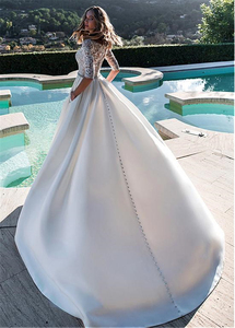 Image 3 - Exquisite Matte Satin Bateau Neckline A line Wedding Dresses With Lace Half Sleeves Bridal Gowns with Pockets