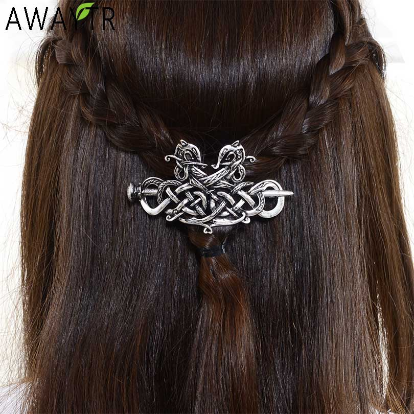 Large Celtics Knots Crown Hairpins Jewelry Vintage Viking Runes Women Girl Hairpin Hair Clips Stick Slide Accessories Headdress