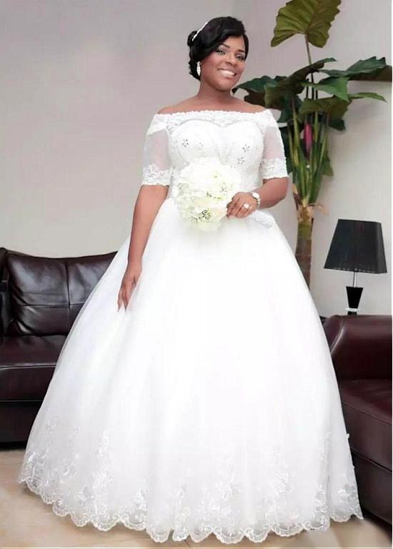 Half Sleeve Vestido De Noiva Muslim Wedding Dresses Ball Gown Tulle Lace Beaded Boho Dubai Arabic Wedding Gown Bridal