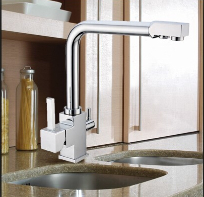 Brass Chrome Polished 3 Way Kitchen Sink Mixer Faucet 2 Holes Drinking  Water Tap Swivel Single