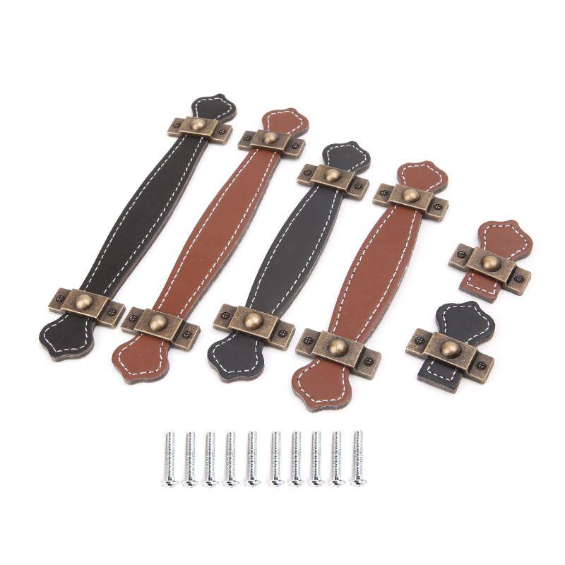 Poignée de meuble Souple En Cuir PU Dresser Tiroirs boutons de porte Poignées Accessoires Ménagers Unique Trou/96mm/128mm poignées de meuble