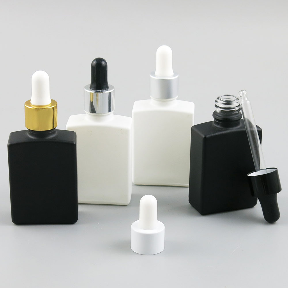 360 x 30ml Travel Black White Glass Perfum Bottle Square Bottles with Dropper Essential Oil Chemical