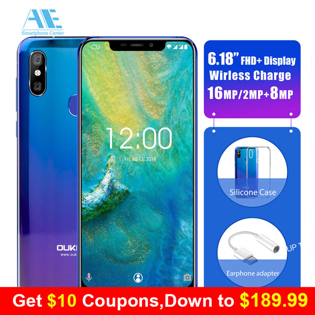 """OUKITEL U23 6.18"""" Notch Display 6G 64G Mobile Phone Wireless Charge Android 8.1 MTK6763T Helio P23 Octa Core Face ID Smartphone"""