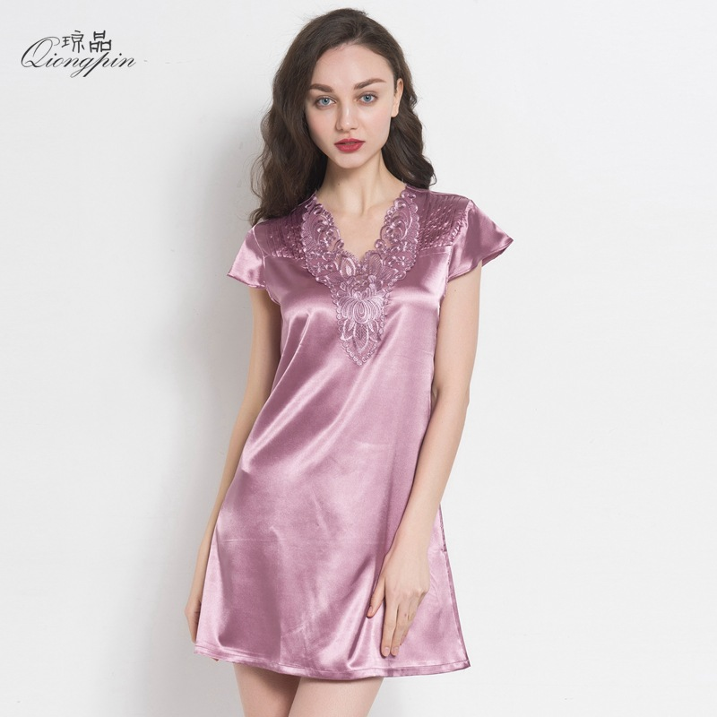 Women Sexy   Sleepshirt     NightGown   Solid Sleep Shirt Short Sleeve V-neck Night Shirt Summer SleepWear NightWear Free Shipping