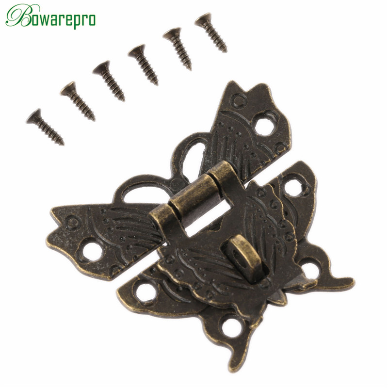 bowarepro Antique Butterfly Box Latch Decorative Jewelry Box Hasp Lock Latch+Screw Vintage Hardware for Furniture Drawer 50*43mmbowarepro Antique Butterfly Box Latch Decorative Jewelry Box Hasp Lock Latch+Screw Vintage Hardware for Furniture Drawer 50*43mm
