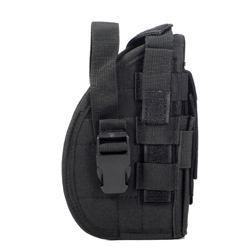 Tactical Gun Holster Molle Modular Pistol Holster for Right Handed Shooters 1911 45 92 96 Glock Quick Release Rifle Pouch Black adjustable quick release plastic tactical puttee thigh leg pistol holster pouch for usp45 black page 5