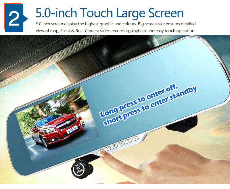 "5.0"" Touch Android 4.4 ROM Dual lens FHD1080P camera WiFi GPS parking car dvrs Rearview mirror video recorder Car DVR 3"