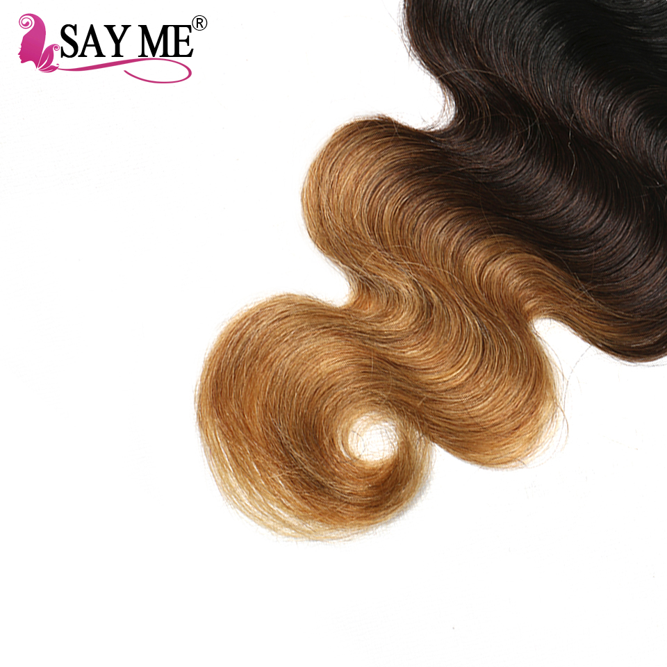 SAY ME Ombre Lace Closure Brazilian Body Wave Closure 1B/4/27 30 Blonde Free Part 4x4 Three Tone  Remy Human Hair Closure-in Closures from Hair Extensions & Wigs    2