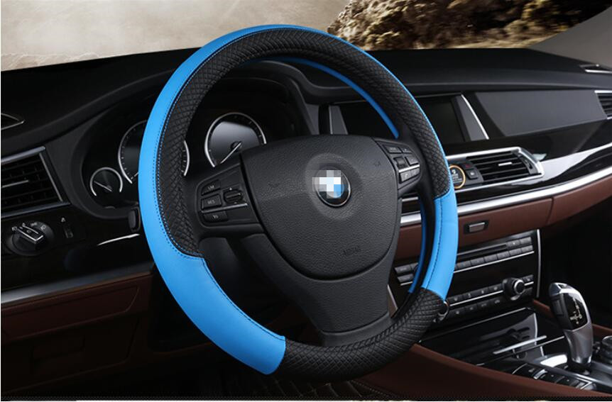 Synth Leather Steering Wheel Cover Comfort Grip Black Stitching Standard Size
