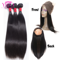 Yelo Pre Plucked 360 Lace Frontal with Bundle Malaysian Straight Human Hair 3 Bundles with Frontal Non Remy Hair Weaves 4Pcs/Lot