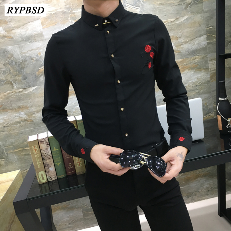 2019 Autumn New Mens Rose Shirt Korean Fashion Casual Men's Embroidery Shirt Long-sleeved Slim Fit Embroidery Mens Shirt