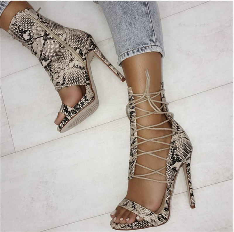 2018 Summer New Fashion Snake Leather Side Lace-up Gladiator Sandals Cut-out Thin Heel Ankle Wrap High Heel Sandals big size 10 cheap price name brand snake print leather lace up high heel sandals ankle tassel design cut out summer dress shoes