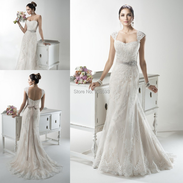 Detachable Cap Sleeves Lace Wedding Dress Beaded Sash Elegant Bridal Gown Western Country Bg100
