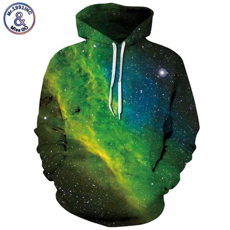 Mr.1991inc 2018 новый зеленый звездное небо печати 3D толстовки Для мужчин/wo Для мужчин ...