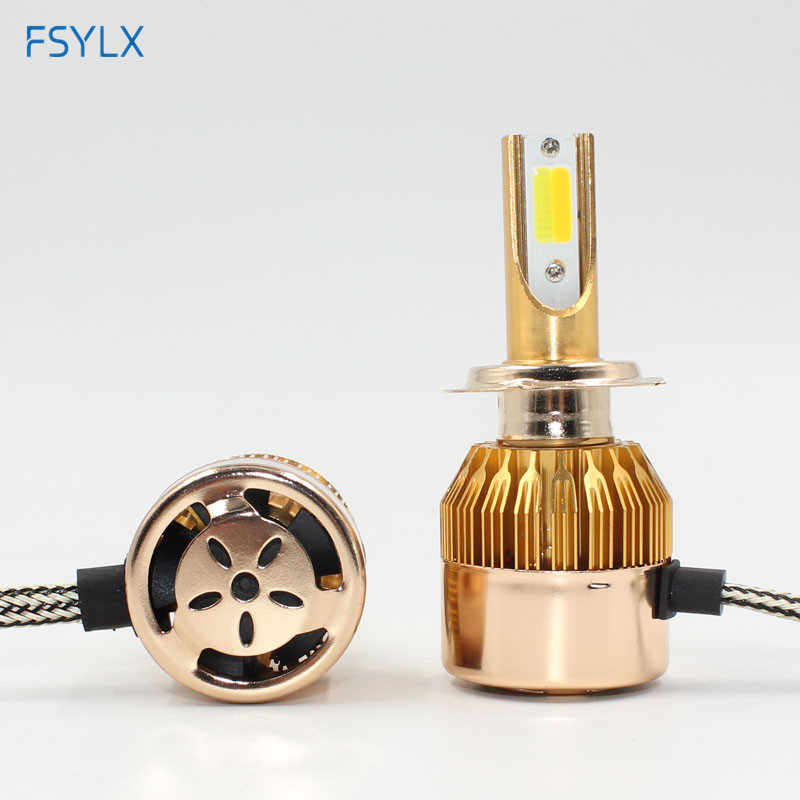 FSYLX Super bright Auto car H4 H7 H1 H8 H9 H11 h13 9005 9006 Led Car Headlight white yellow Dual Color Led fog Headlamp 10000LM
