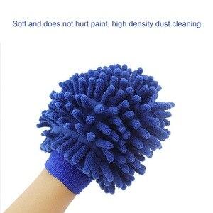 Image 2 - 1pc Auto Wassen Handschoenen Wateropname Handdoek Microfiber spons Handdoek Coral Chenille Zachte Auto Schoonmaken Tool