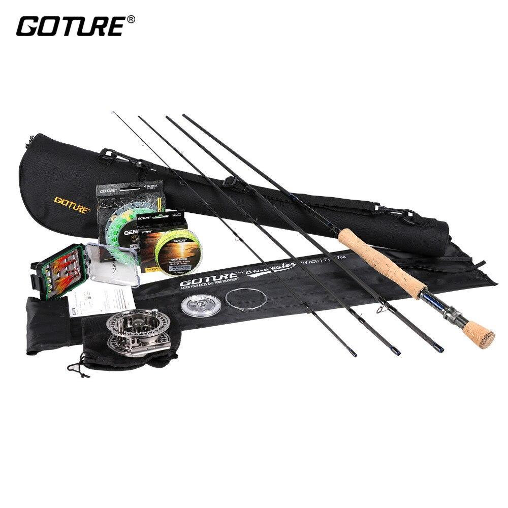 Kit de pêche à la mouche Combo Goture Rod 2.7M canne à mouche 5/6 7/8 CNC moulinet de pêche à la mouche avec ligne de soutien mouches leurres ensemble de pêche