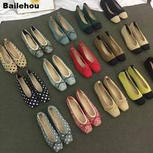 Mocassins à bout carré pour femmes, chaussures de Ballet plates respirantes tricotées, couleurs mélangées, ballerine plates, chaussures peu profondes et colorées avec nœud papillon