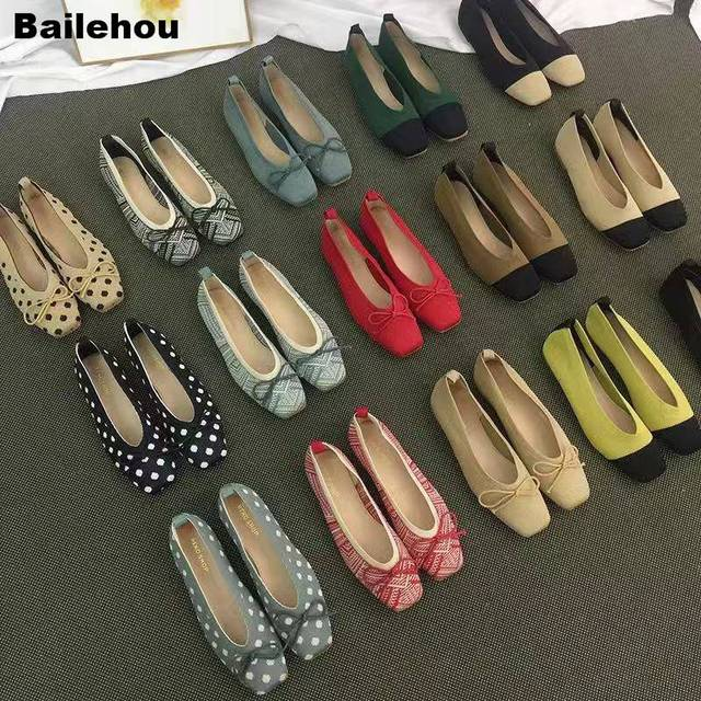 Women Flats Ballet Shoes Breathable Knitted Square Toe Moccasin Mixed Color Flat Ballerina Shallow Butterfly knot Colorful Shoes