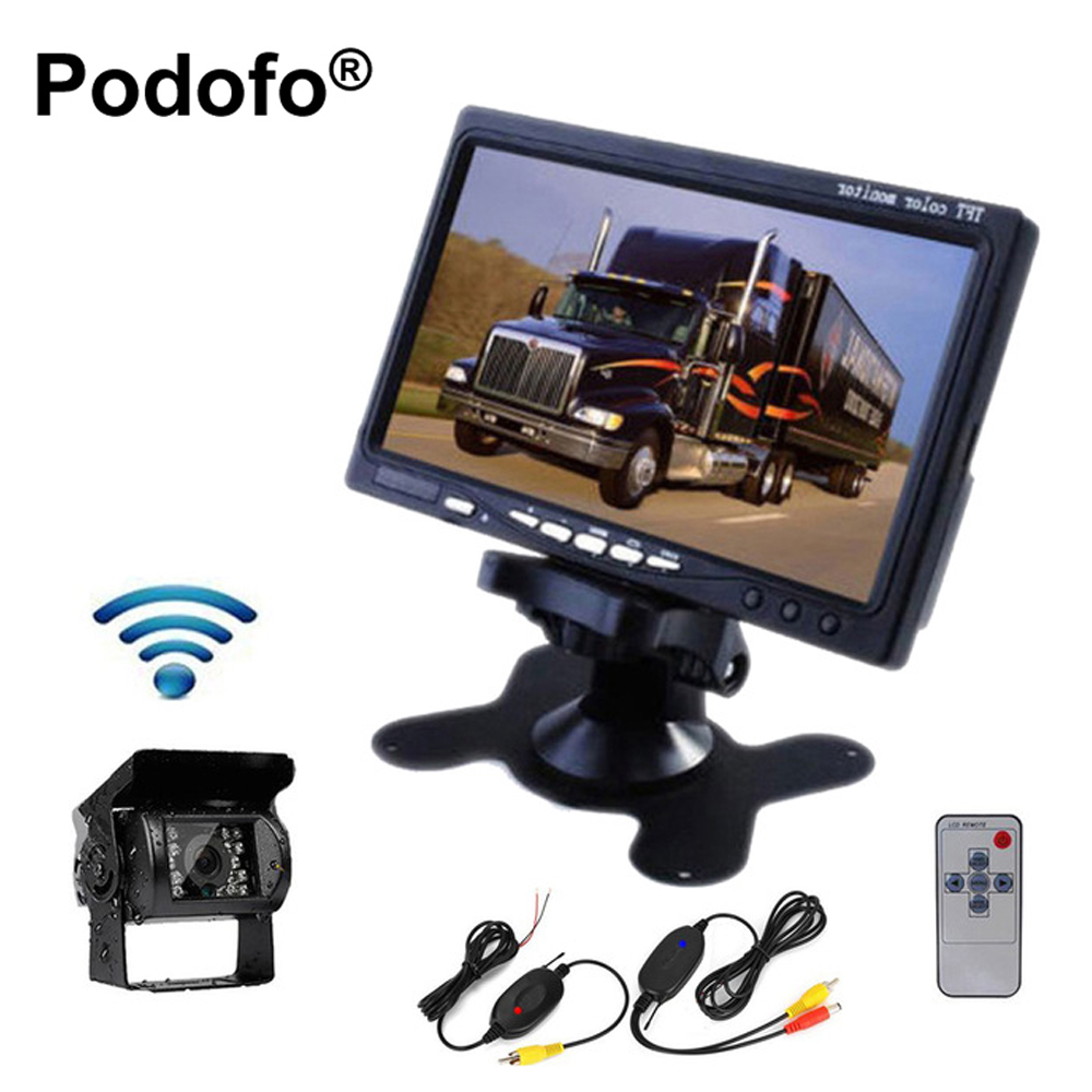 Podofo Wireless Truck Car Rear View Camera IR Night Vision Backup Kit 7TFT LCD Monitor Waterproof Parking Assistance System