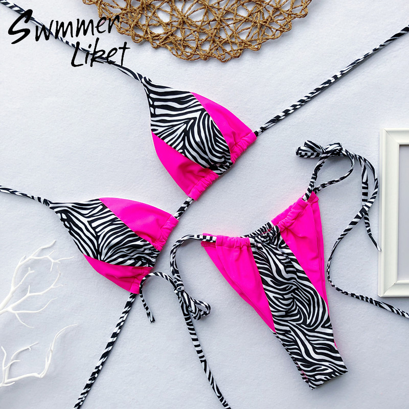 Summer 2019 beach wear neon biquini Micro string swimsuit push up sexy bikini set Patchwork leopard swimwear women bathing suitSummer 2019 beach wear neon biquini Micro string swimsuit push up sexy bikini set Patchwork leopard swimwear women bathing suit