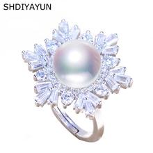 SHDIYAYUN 2019 Fine Pearl Rings Natural Freshwater Snowflake Big 925 Ring Zircon Sterling Silver Jewelry For Women