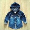 Y038 Marca Za Nuevo 2014 Fashion Baby Boy Camiseta de Los Niños Blusa Denim Encapuchado Camisa Muchacho Ocasional prendas de Vestir Exteriores de Mezclilla ropa Para Niños Lot