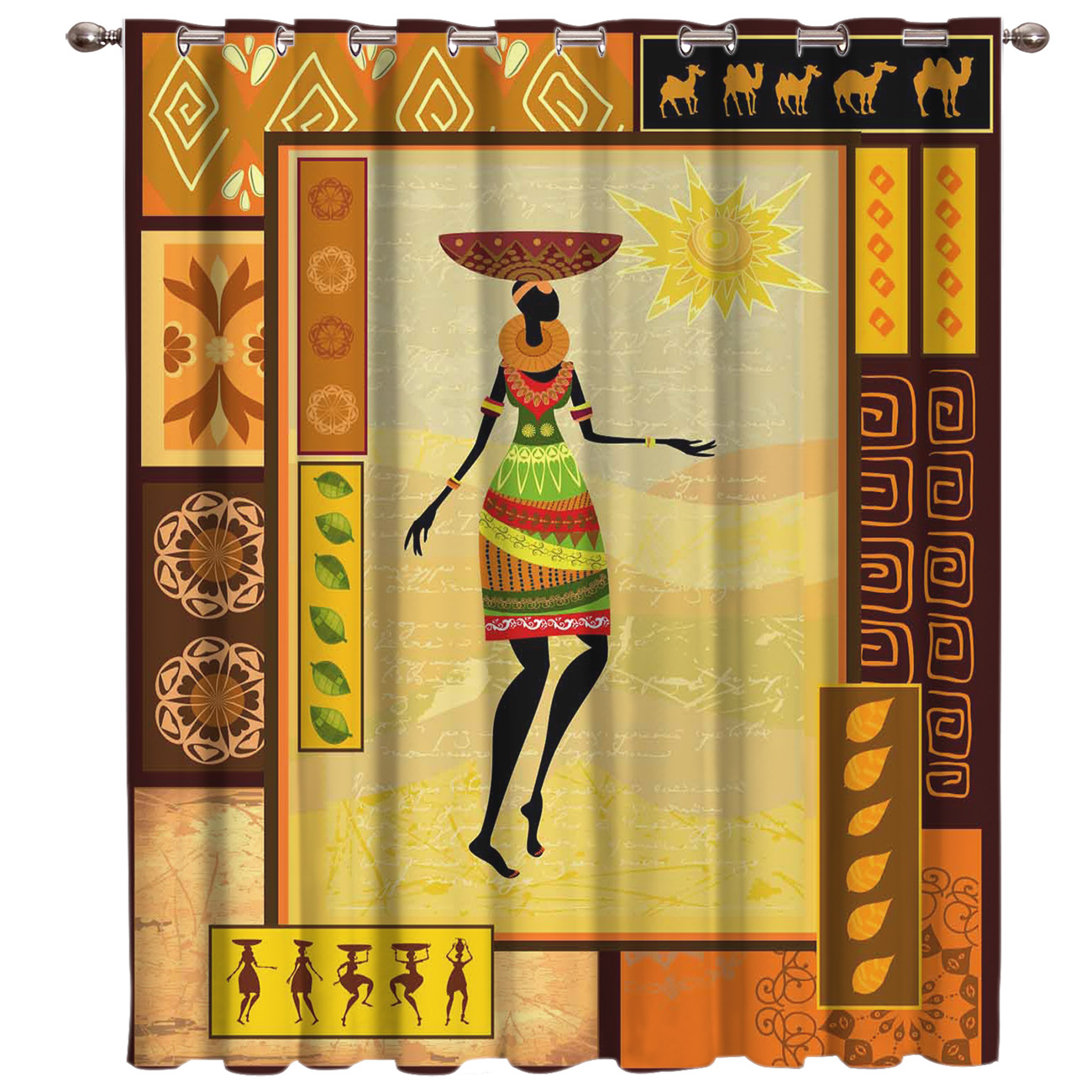 African Girl Room Curtains Large Window Curtain Rod Bathroom Outdoor Bedroom Fabric Decor Print Party Decoration Valance Curtain