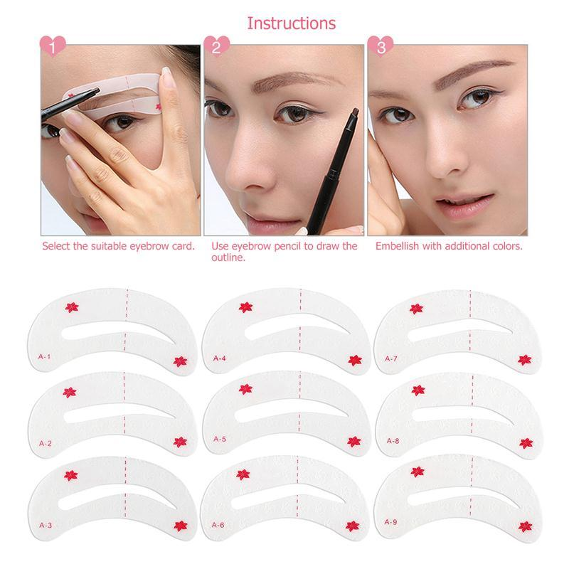 9pcs Pro Reusable Eyebrow Stencil Set Eye Brow Diy Drawing Guide