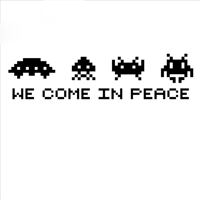 SPACE INVADERS Wall Art - we come in peace Retro VINYL WALL Decal STICKER Game SPACE INVADERS Play Room Decor