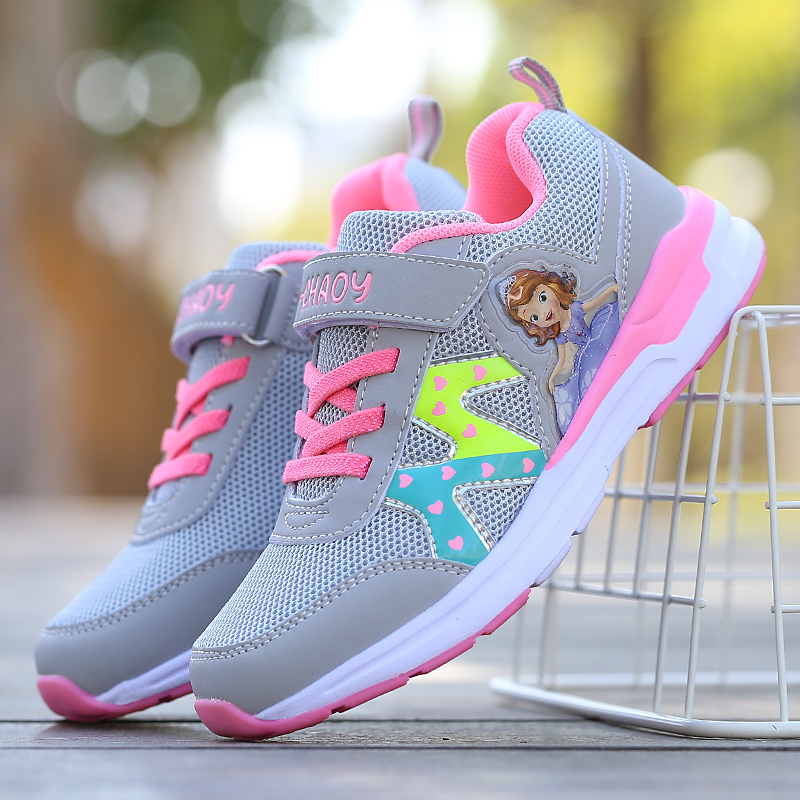 Spring New Children Sneakers For Girls Princess Casual Shoes Kids Breathable Mesh Sneakers Student Non-slip Running Sport ShoesSpring New Children Sneakers For Girls Princess Casual Shoes Kids Breathable Mesh Sneakers Student Non-slip Running Sport Shoes