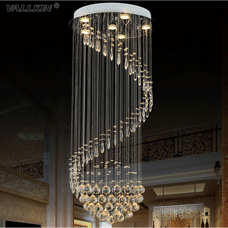 VALLKIN Modern K9 Large LED Spiral Living Room Crystal Chandeliers Lighting Fixture For Staircase Stair Lamp