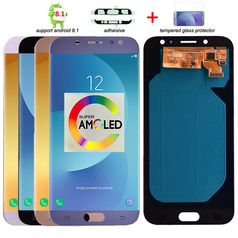 100% Original Super Amoled Para Samsung Galaxy J7 Pro 2017 J730 J730F Screen Display LCD de Toque Digitador Assembléia Substituição lcd