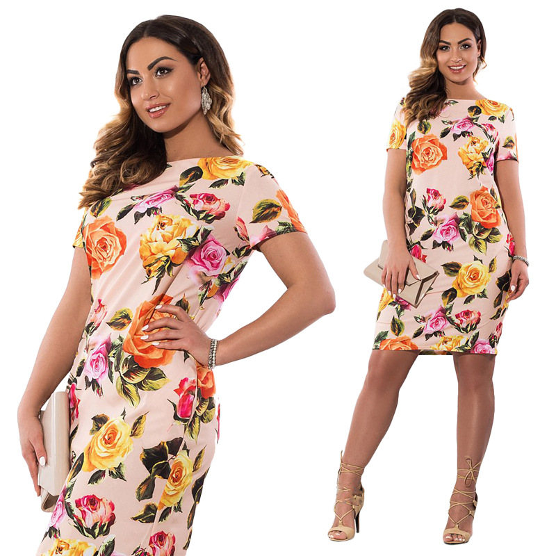 HTB1Sw9MXnzGK1JjSspjq6AHWXXaJ 2019 Autumn Plus Size Dress Europe Female Fashion Printing Large Sizes Pencil Midi Dress Women's Big Size Clothing 6XL Vestidos