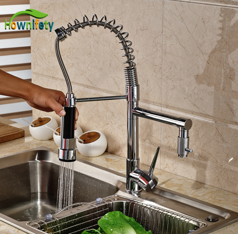 Chrome Finish Dual Spout Kitchen Sink Faucet Deck Mount Spring Kitchen Mixer Tap Kitchen Hot and Cold Water tap fapully chrome finish single spout kitchen sink faucet deck mount spring kitchen mixer tap kitchen hot and cold water tap