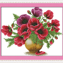 NEW Poppy flower vase cotton DMC cross stitch kit 14ct white