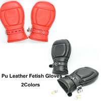 Sex Bondage Fetish Fist Mitts Pony Play Mittens Leather Sensory Deprivation Protective Gloves 2Colors