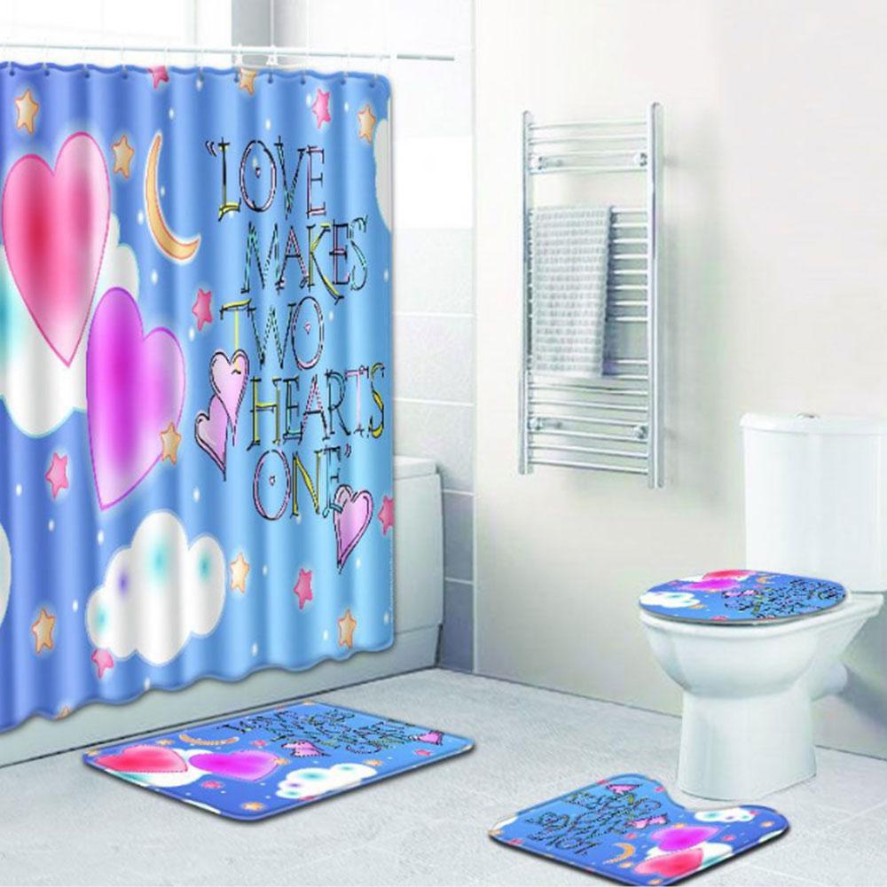 Шторы коврик для ванной комнаты красивый полиэстер 4 шт./компл. любовь Свадебная дорожка зимняя крышка для унитаза противоскользящая Прямая - Цвет: 2