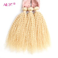 Alot Brazilian 613 Kinky Curly Human Hair 3/4 Bundles Blonde Hair Weaving 12 To 24 Inch Double Weft Non Remy Hair Extensions