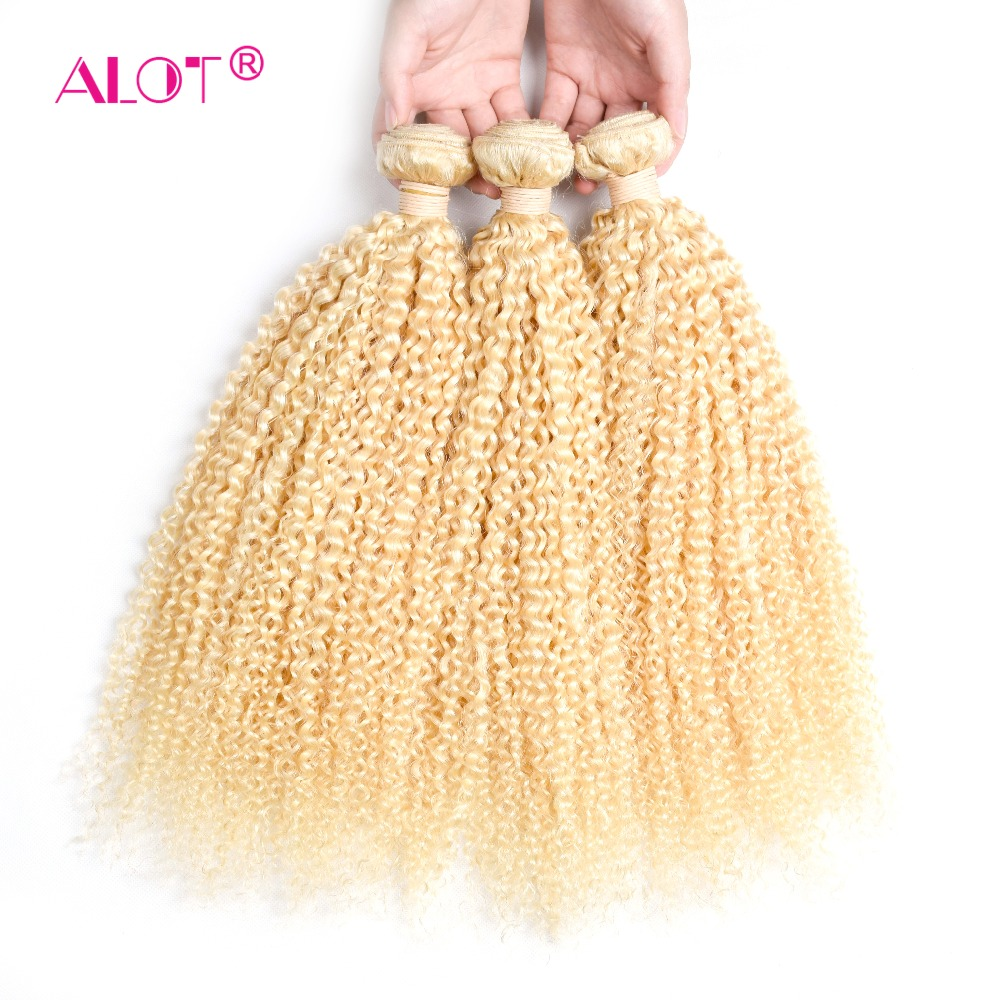 Viel Brasilianische 613 Verworrene Lockige Menschenhaar 3/4 Bundles Blonde Haar Weben 12 Zu 24 Zoll Doppel Schuss Nicht Remy Haar Extensions Haarverlängerungen Echthaarverlängerungen