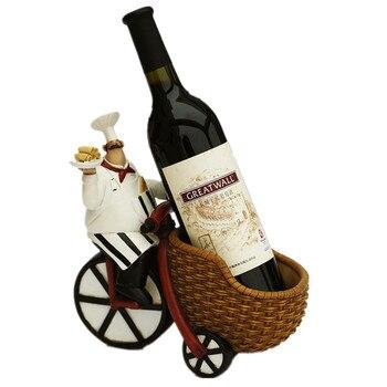 Creative Resin Chef Wine Rack Craft Figurine Wine Stand Cook Wine Bottle Holder Home Wine Ornament Shelf Racks for Restaurant