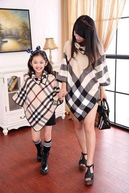 Madres ropa Mujeres Classic Plaid Poncho 2017 Mujeres mezclas de lana Jumper capas de moda del Invierno del Resorte del envío