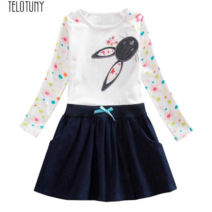 67f388af4ecc9 Detail Feedback Questions about TELOTUNY girls dress children's dresses for  girls Baby Girls Long Sleeve Cartoon Print Dot Rabbit Dress Outfits Clothes  ...
