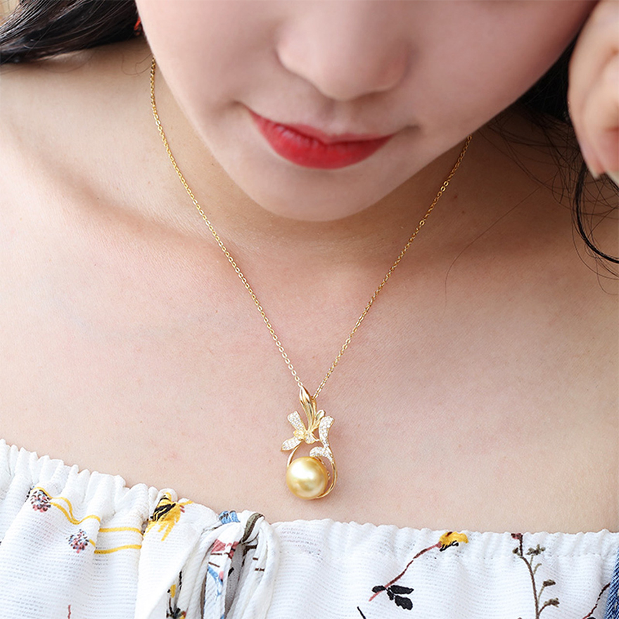 8e43d48bf6f65 YS] 925 Sterling Silver Big Size 12-13mm Elegant South Sea Pearl ...